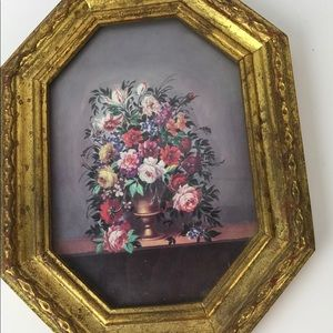 Vintage Octagon Shaped Floral Picture Made Italy